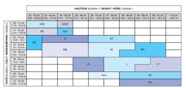Free Jump Chaps Size Chart